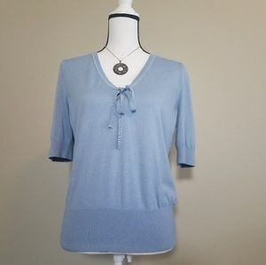Talbots Short Sleeve Blue  Sweater Sz Large Petite